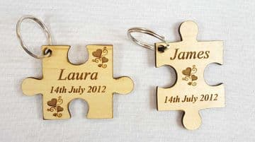 Personalised Engraved Wooden Jigsaw Keyring - Symbol of the 5th Year Anniversary