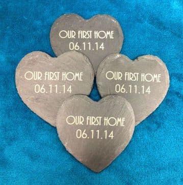 Personalised Heart Shaped Slate Coasters