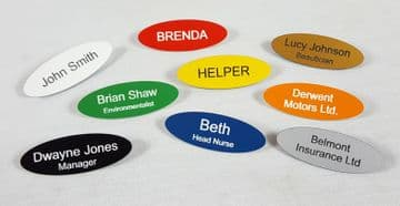 Personalised Oval Acrylic Pack of 5 Name Badges with Pins - Choice of Colour