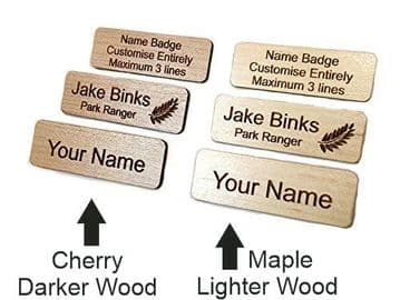 Personalised Wooden Name Badge with Pin - Choice of Wood Type and Text - Work, Schools, Pubs, Shops.