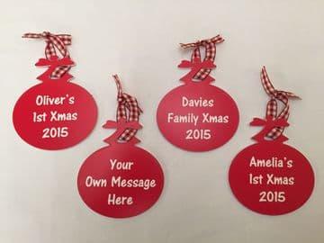 Personalised Xmas Tree Bauble, 1st Xmas, Family