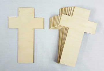 Plain Wood Wooden Cross Craft Shapes - Memorial Crucifix - Pack of 10