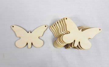 Plain Wooden Butterfly Shapes Craft Shapes - Pack of 10 - Ready to Decorate