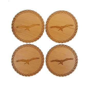 Red Kite Engraved Set of 4 Coasters - Maple or Cherry Veneer