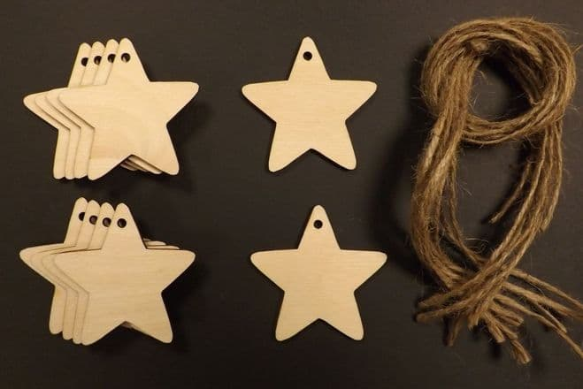 Star Gift Tags Xmas Decoration 60mm Pack of 10