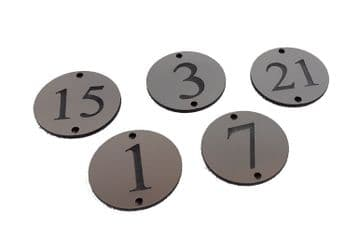 Table Number Plaque - Brushed Steel Effect Acrylic - Choose Your Numbers
