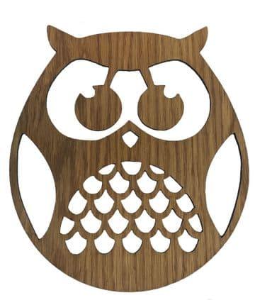 Wooden Laser Cut Oak Round Owl Wall Art