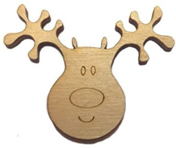 Wooden Reindeer Heads Christmas Craft Shape Decorations Pack of 10