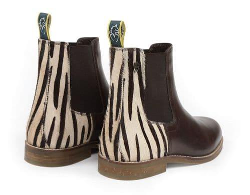 Moretta Zebra Leather Chelsea Boots