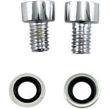 Chrome Front Fork Drain Screws for Harley Davidson Dyna & FXR Motorcycles (1995-2005)