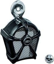 Kuryakyn Black with Chrome Mesh Mach 2 Horn Cover for Harley Davidson (1992-Up)