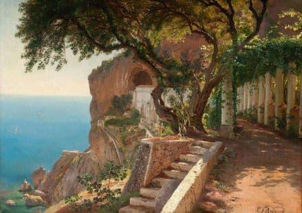 Aagaard, Carl Frederic: View to the Amalfi Coast. Italian Landscape Fine Art Print.