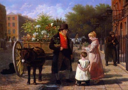 Agasse, Jacques Laurent: The Flower Seller in London. (Victorian Scene) Fine Art Print.  (00653)