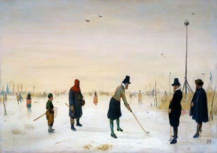 Avercamp, Hendrick: Kolf Players on the Ice. Winter Landscape Fine Art Print.  (00433)
