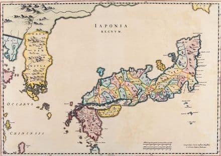 Blaeu, Joan: Map of Japan. Antique/Vintage 17th Century Map. Fine Art Print.  (003874)