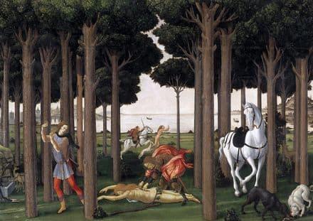 Botticelli, Sandro: The Story of Nastagio degli Onesti II. Fine Art Print.  (001886)