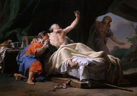Brenet, Nicolas Guy: Isaac Blessing Jacob. Biblical Scene, Fine Art Print.  (001503)