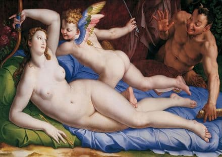 Bronzino: Venus, Cupido and Satyr. Greek and Roman Mythology. Fine Art Print.  (001972)