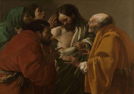Brugghen, Hendrick Ter: The Incredulity of Thomas. Fine Art Print.  (004029)