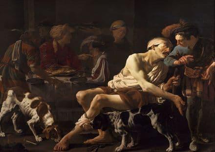 Brugghen, Hendrick Ter: The Rich Man and the Poor Lazarus. Fine Art Print.  (002151)