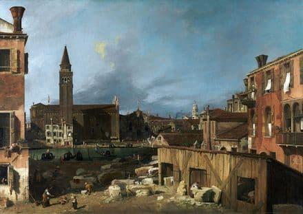 Canaletto, Giovanni Antonio Canal: The Stonemason's Yard. Fine Art Print.  (003451)