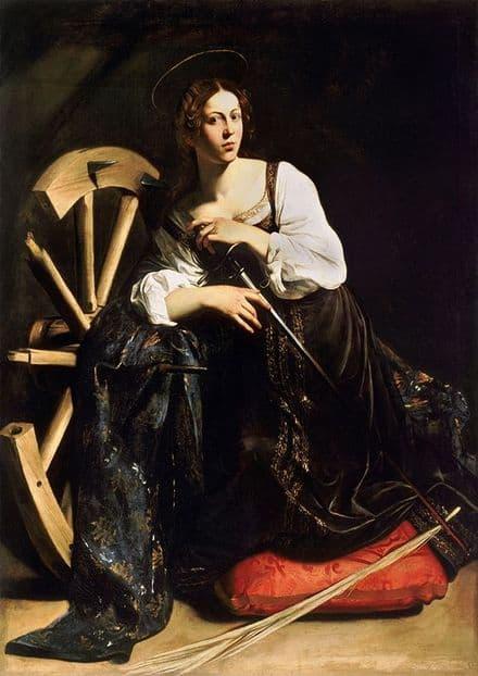 Caravaggio, Michelangelo Merisi da: Saint Catherine. Fine Art Print.  (002083)