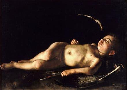 Caravaggio, Michelangelo Merisi da: Sleeping Cupid. Fine Art Print.  (002092)