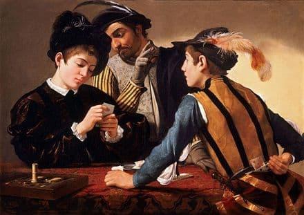 Caravaggio, Michelangelo Merisi da: The Cardsharps. Fine Art Print.  (002089)