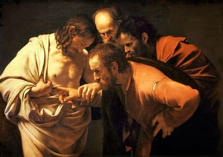 Caravaggio, Michelangelo Merisi da: The Incredulity of Saint Thomas. Fine Art Print.  (002062)