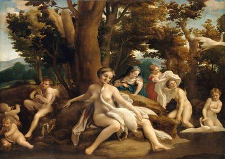 Correggio, Antonio Allegri da: Leda and the Swan. Greek and Roman Mythology.  (001970)