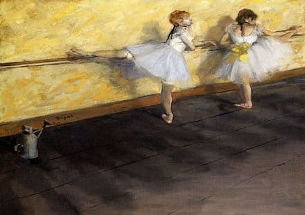 Degas, Edgar: Ballet Dancers Practicing at the Bar. Fine Art Print.  (001376)