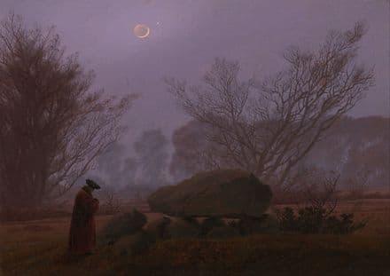 Friedrich, Casper David: A Walk at Dusk (Man Contemplating a Megalith). Fine Art Print.  (003887)