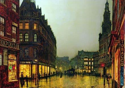 Grimshaw, John Atkinson: Boar Lane, Leeds. Victorian Scene, Fine Art Print.  (003233)
