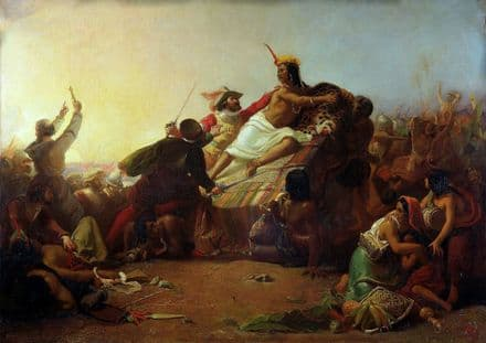 Millais, John Everett: Pizarro Seizing the Inca of Peru. Fine Art Print. (001236)