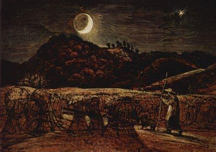 Palmer, Samuel: Cornfield in the Moonlight. Landscape Fine Art Print.