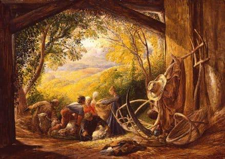 Palmer, Samuel: The Shearers. Landscape/Farming Fine Art Print.