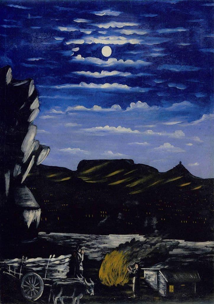 Pirosmani, Niko: Arsenali Mountain at Night. (Georgian Primitivist Painter/Artist)  (003019)