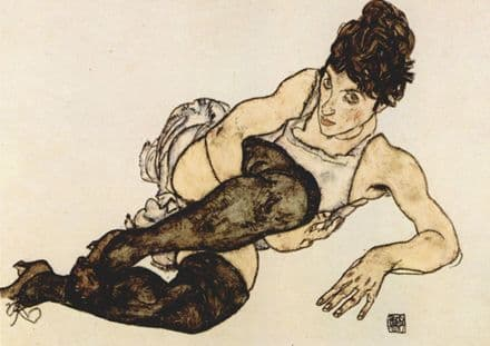Schiele, Egon: Reclining Woman with Black Stockings. Fine Art Print.  (003319)