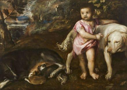 Titian (Tiziano Vecellio): Boy with Dogs in a Landscape. Fine Art Print.  (001948)
