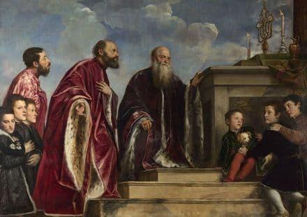 Titian (Tiziano Vecellio): The Vendramin Family, Venerating a Relic of the True Cross.  (001950)