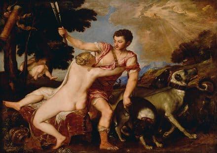 Titian (Tiziano Vecellio): Venus and Adonis. Greek and Roman Mythology Fine Art Print.  (001963)