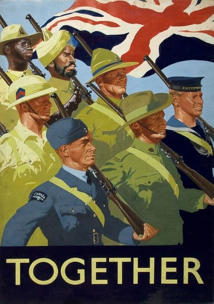 Together. Unity of Strength British Empire Servicemen. Print.