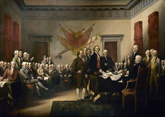 Trumbull, John: Signing the Declaration of Independence, 4th July 1776.Fine Art Print.  (00388)