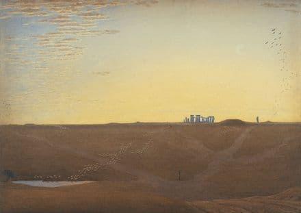 Turner, Joseph Mallord William: Stonehenge - Twilight. Fine Art Print.  (004151)