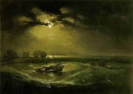 Turner, William: Fishermen at Sea. Moonlit Seascape Fine Art Print.  (00566)