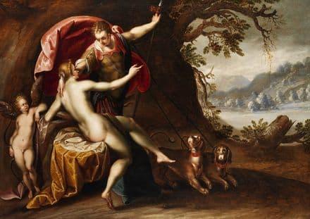 Aachen, Hans von: Venus and Adonis with Hounds. Fine Art Print/Poster. Sizes: A4/A3/A2/A1 (002046)