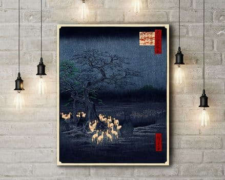 Ando Utagawa Hiroshige:New Year's Eve Foxfires at the Changing Tree, Oji. Fine Art Canvas.