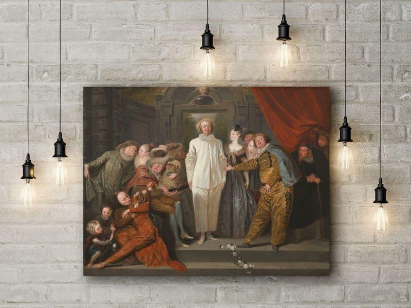 Antoine Watteau: The Italian Comedians. Fine Art Canvas.