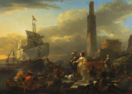 Berchem, Nicolaes Pieterszoon: A Harbour Scene. Fine Art Print/Poster (5468)