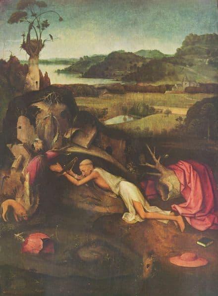 Bosch, Hieronymus: Saint Jerome Praying. Fine Art Print/Poster. Sizes: A4/A3/A2/A1 (00859)